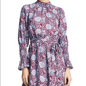 Rebecca minkoff long sleeve floral ruffle dress